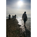 sun sea sky solent lepe beach sand spit silhouette figures shore waves