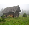 CzechRepublic Bohemia Brdy mountains fog cottage