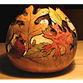 gourd art gift nature leaves bird cardinal chickadee birds autumn woodburning