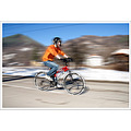 boy son bicycle street winter mountain Bulgaria