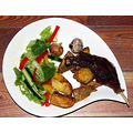 Roast duck leg with Japanese 7 spice powder (七味唐辛子 Shichimi Togarashi), roast potatoes,...