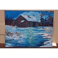 cabins winter snow buildings original art color outdoor purchase nature