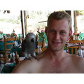 coco the african grey doing the rounds on everybodys shoulders.