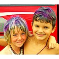 boys spraypainted hair blueberry cousins