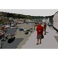 8346 Manipulated Cornwall Mevagissey Sea Coast Harbour Boat Moored Quay UK