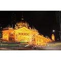 flinders st station melbourne night trams