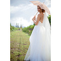 Rouched bodice which flows out into mermaid wedding ceremony dresses with pickups,The fitted bodi...