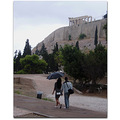 walk couple acropolis rain