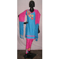 Aqua Blue Silk Kameez with Churidar