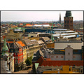 copenhagen denmark roofs buildings architecture view high up tower