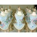 blue jewelry bust display hanger beaded sequence
