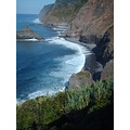 2008 portugal madeira boaventura coast rough sea north cliff islet waves beach