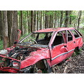 old car wreck bush abandoned broken damage