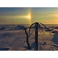 """palm trees"" made from whale baleen and driftwood near Point Barrow, Alaska under an ""icebow"""