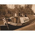 sepia narrowboat Kildare canal small boy captain boat