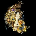 artistic portrait half woman mask golden people creative cheeetah keitology