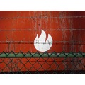 tank red logo chainlink barbedwire fence