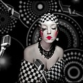Buba artistic portrait woman chess series people black white red make up girl