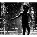 child water fountain summer city bw