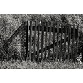 hungary marianosztra rural fence gate bw