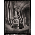 giand hands small miniature magic magician houdini vintage BW sepia