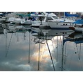 marina boat water sunset clouds sky