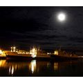 moon konni27 Iceland Reykjavik harbor sea ocean night ships boats