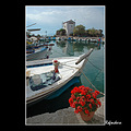 sykamnia skala gorgona church sea bay boat lesvos greece