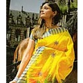 with Saree Crepe Faux Yellow Outlet Ensemble Wedding Indian Blouse