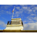 abstract angles lifeguardstation sky clouds flag flagpole