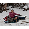 selena and kenster sledding snow