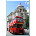 St Pauls and the famous red busses of London.