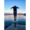 sea jump dive water swimming croatia sunset