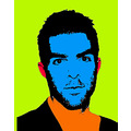 Andy Warhol style photo of Zachary Quinto