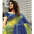 Blouse with Saree Crepe Faux Blue