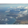 west side of Oahu Island view from inside of airplane