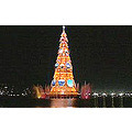 christmas simbol installed in the middle of a great lake
