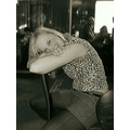 giel blonde leopard chair pose smile