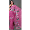 Light Magenta Faux Georgette Saree with Blouse