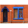 colour blue door house street window graffiti