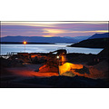 night light sunset sand sea view landfill industry