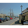 Cornwall Charlestown UK Harbour Coast Sea Ship Moored Road Lamp Street Shop