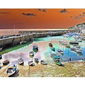9915 Manipulated Cornwall Mousehole UK Harbour Sea Coast Boat Moored Beach