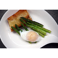 Grilled asparagus with poached duck egg.