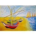 Fishing Boats At St Maries 1888 Van Gogh Copy 2006 Kent Oil Colorful