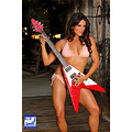 red guitar brunette model