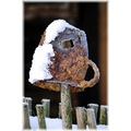 winter countryside village cold snow cup ceramic old