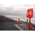 beach sea waves coast northwales rhyl prom colouraccent red ring railings