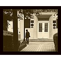 streetphoto architecture woman tree bush door lamps house monochrome