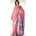 Dark Pink Viscose Saree with Blouse